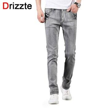 50c6aa587 Drizzte marca para hombre de verano Pantalones vaqueros de moda elástico  humo gris Denim Hombre Slim Fit pantalones vaqueros pantalones tamaño 30 32  34 35 ...