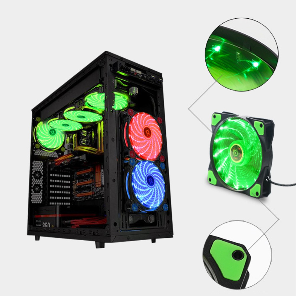 DIY 5V 3-4Pin 15 LED Light Neon Quiet Computer Case Cooling Fan Mod 120*120*25mm Desktop PC Light System Game PC Parts gdstime 10 pcs dc 12v 14025 pc case cooling fan 140mm x 25mm 14cm 2 wire 2pin connector computer 140x140x25mm