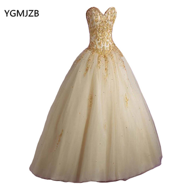 Vintage Red Champagne Quinceanera Dresses 2018 Ball Gown Gold Lace  Sweetheart Vestidos De 15 Anos Sweet 16 Dress 51cdbe5e3e2a