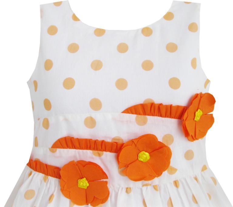 Sunny Fashion Girls Dress Orange 3 Sunflower Party Birthday Children Clothing Cotton 2018 Summer Princess Wedding Size 6-14