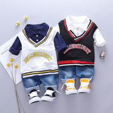 2019 Autumn Toddler Boys Clothes Suits  Baby Kids Clothing Set Letter  Vest + t Shirt + Pants Sets Infant  Children Costume Suit цена в Москве и Питере