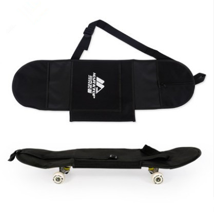 "Image 1 - New Black Skateboard Carrying Bag 4 Wheels Skateboard Bag 31""x8"" Skateboard Double Rocker Backpack-in Skate Board from Sports & Entertainment"