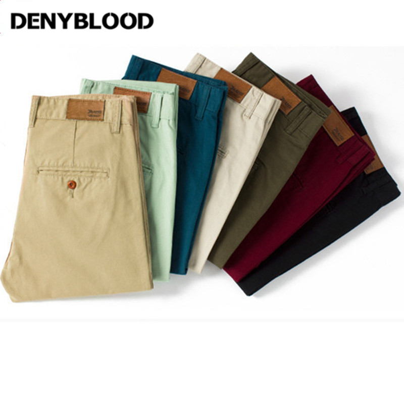 Denyblood Jeans Mens Slim Chinos Casual Pants Black Khaki