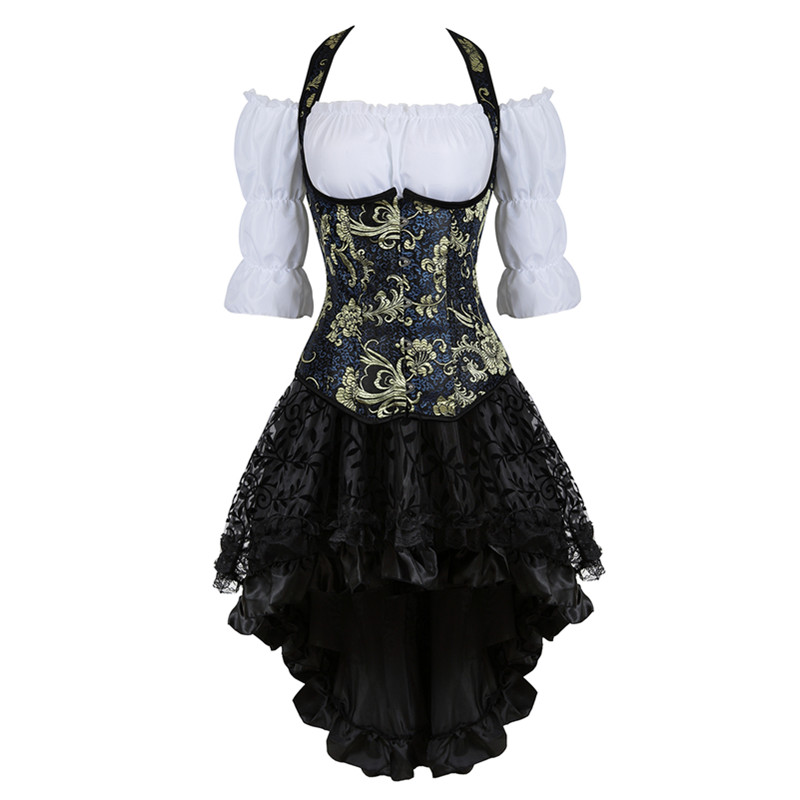 Steampunk   Corset   Dress Embroidery   Bustiers     Corset   Dress Gothic Lingerie Corsetto Skirt Sets Burlesque Skirt Three-piece Outfits