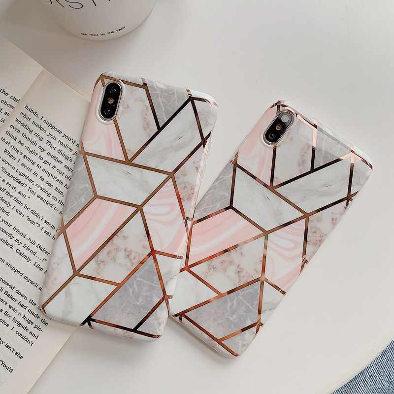 Luxury Marble Soft TPU Phone Case For iPhone 11 Pro X XR XS Max Glossy Plating Geometric Case For iPhone 7 8 6S Plus Back Cover