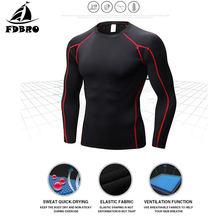 4523fec47 FDBRO hombres camisetas de manga larga de secado rápido de compresión de  Running camiseta Fitness apretado