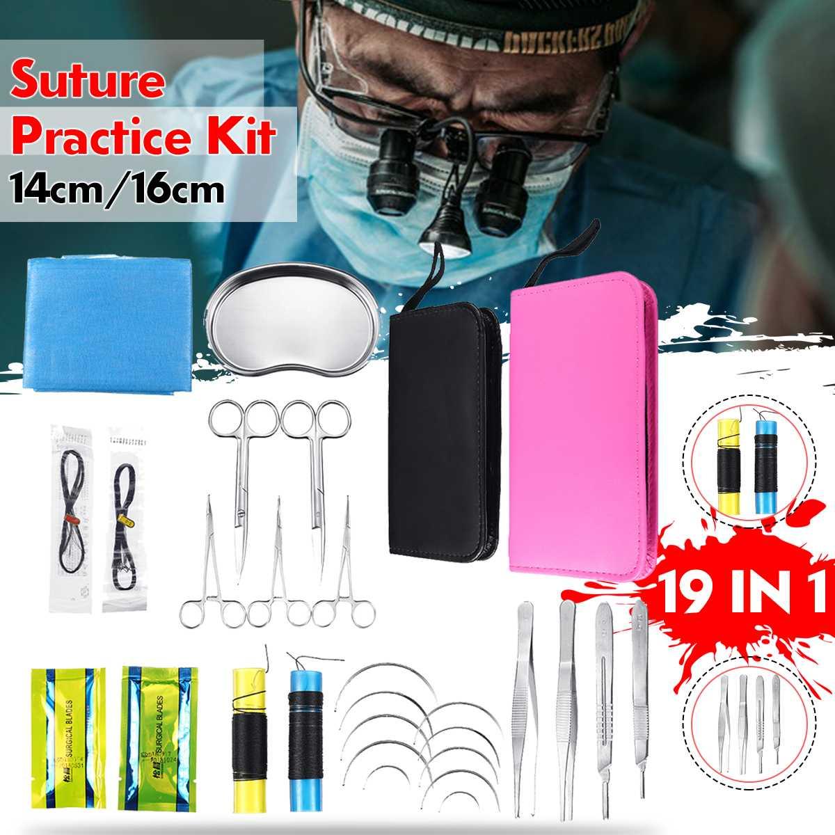 19 pièces Kit de pratique de Suture outil de formation pédagogique de Surcigal avec sac Oxford outils d'enseignement multifonctionnel de la Science médicale