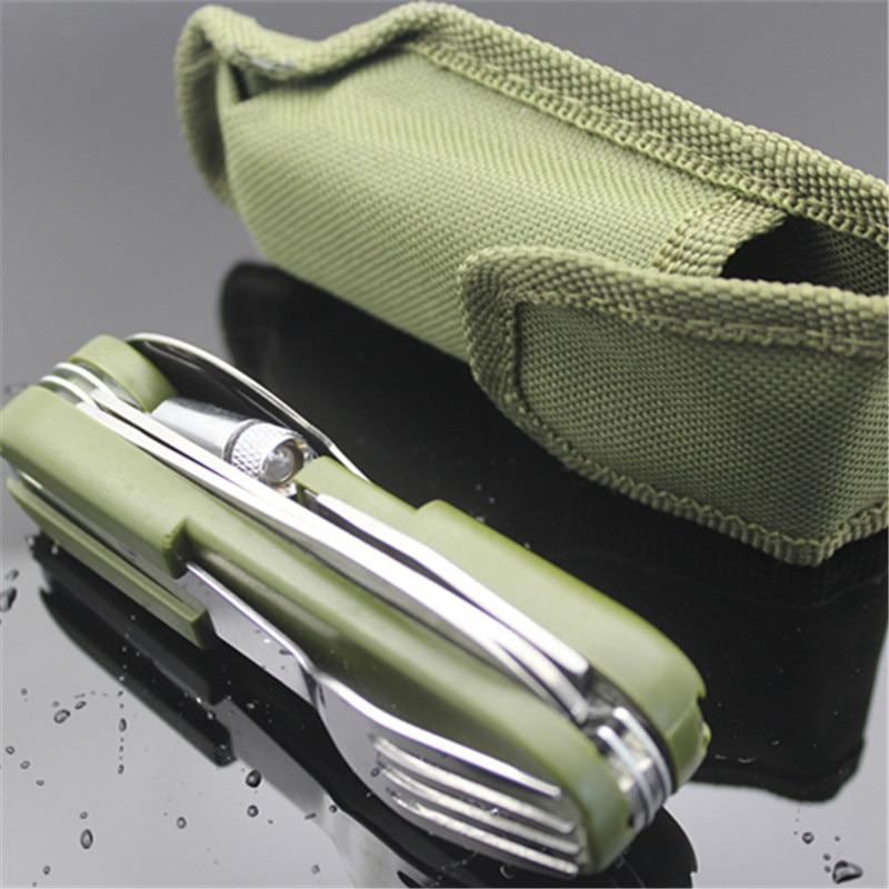 все цены на Outdoor Tableware with LED light Stainless Folding Camping Tool Multi Function Dinnerware Fork/Spoon/Knife/ Bottle Opener Set