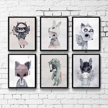Children Cartoon Rabbit Canvas Poster Nordic Style Art Print Baby Kids Wall Picture Nursery Modern Wall Decor
