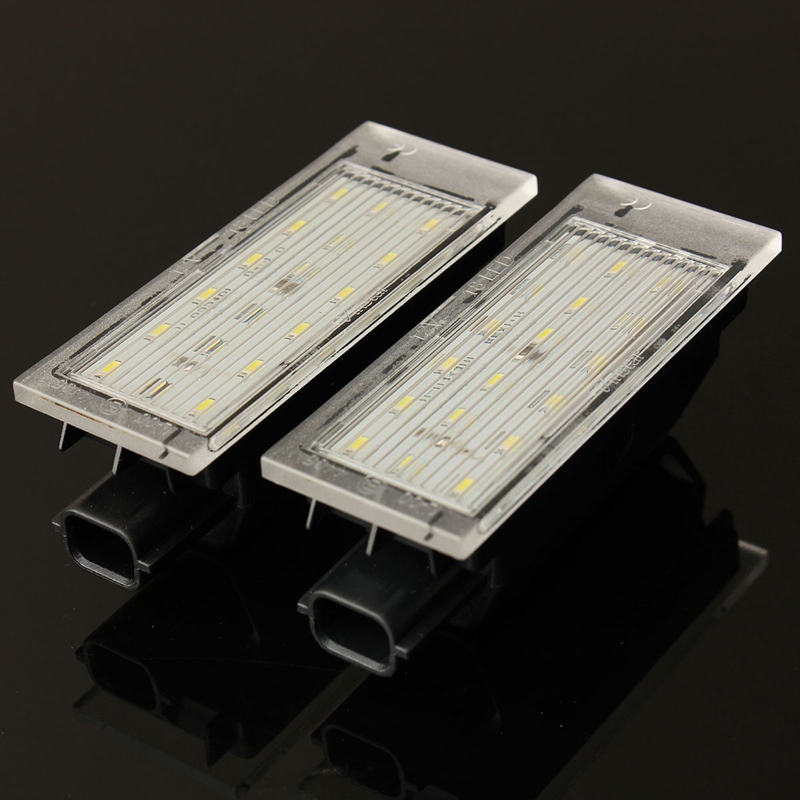 2Pcs 12V White LED License Plate Light Number Lamp For Renault/Twingo/Clio/Megane/Lagane Error Free 2pcs 12v white led license plate light number lamp for renault twingo clio megane lagane error free
