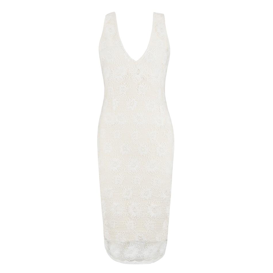 V Soirée Profonde Clubwear Robe Bandage Mode Blanc De Printemps En Sexy  Sans cou Femmes Dentelle Manche 2018 Genou Nouveau Longueur W1Bqf4wfv 2936eccfec3