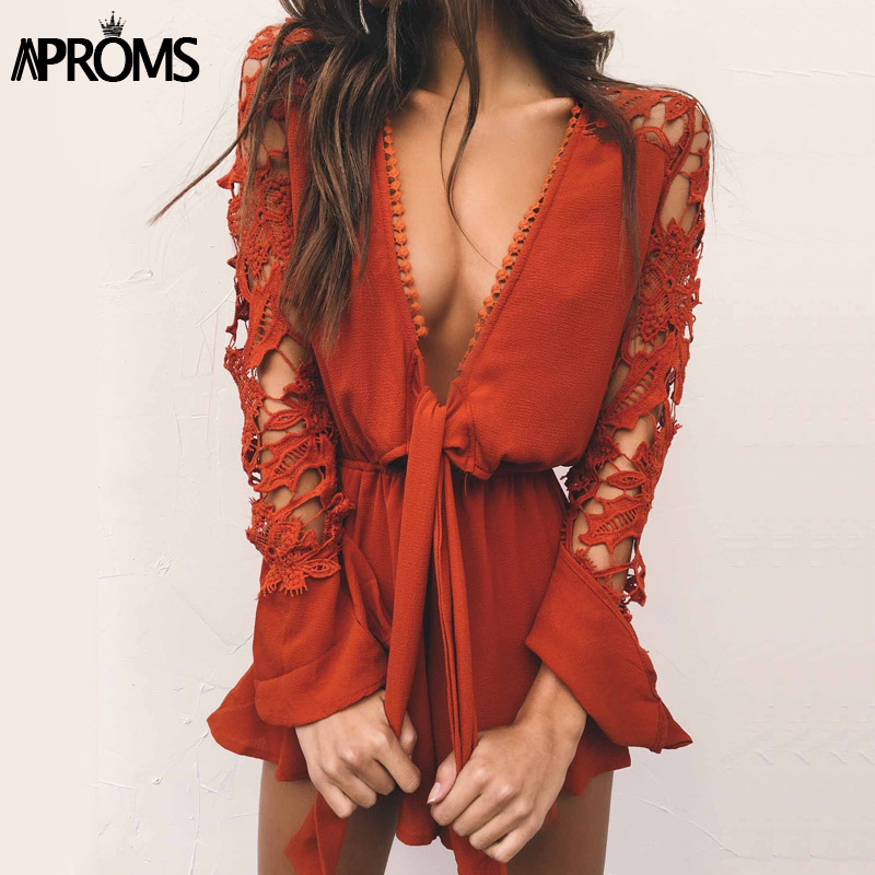 Aproms White Lace Crochet Long Sleeve Romper Jumpsuit Sexy Deep V Neck Bow Tie Playsuit Summer Ruffles Shorts Overalls for Women