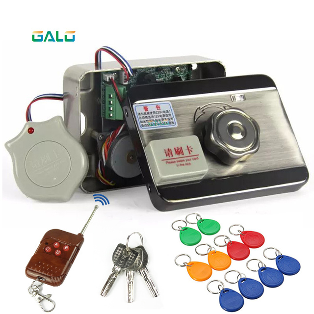 Electronic RFID Door Gate Lock/Smart Electric Strike Lock Magnetic Induction Door Entry Access Control System with 15 tags