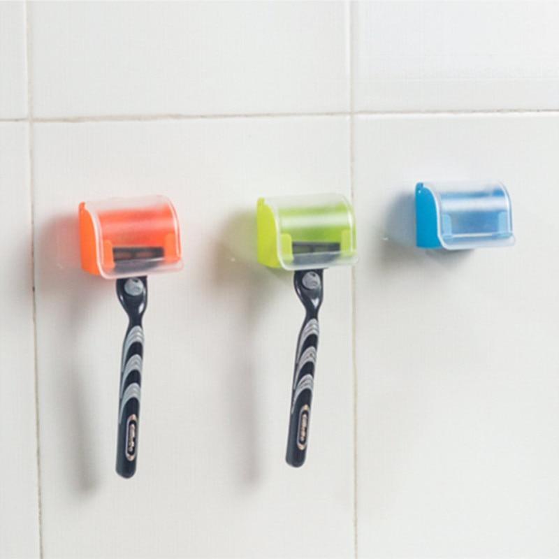 Dustproof Razor Holder Shaving Plastic Box Suction Cup Men Shaver Storage Shelf Wall Mounted Bathroom Set Razor Cap Shaver Rack