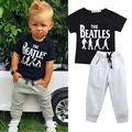 2016 Fashion 2pcs Children Clothes Sets Kid Baby Boy Cute Lovely Short Sleeve T-shirt Top Pants Outfit Set Suit