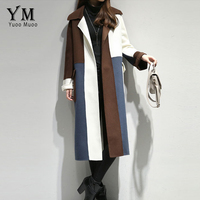 YuooMuoo Women Winter X Long Wool Coat Full Sleeve Patchwork Turn Down Collar Covered Button Wide Waist High Street Woolen Coat