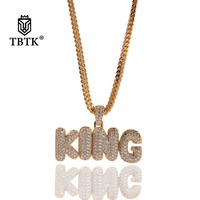 TBTK Statement Pendant Necklace KING Stitching Letters Copper Metal Paved Sparkling Charm Zircon Stones Luxury Jewelry Man Punk