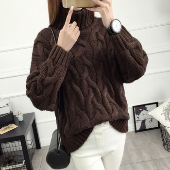 Women short design sweater 2017 Korean style autumn and winter loose female twisted sweater teenage girl pullover white brown girl