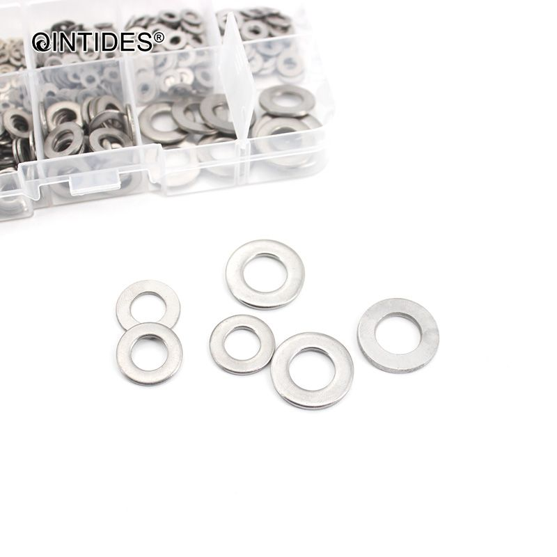 500pcs 304 Stainless Steel Flat Washer Gasket Kit M1.6 M2 M2.5 M3.5 M3 M4 M5