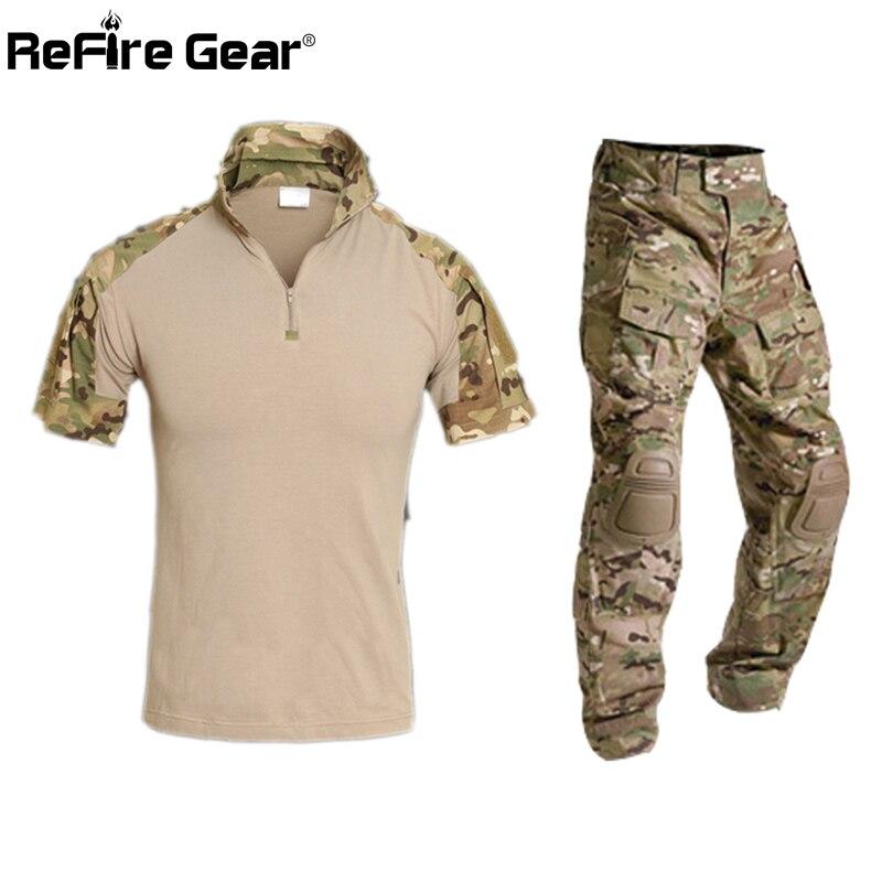 Summer Multicam Short Military Uniform Camouflage Set Men Army Tactical Combat Shirt Cargo Pants Paintball Airsoft