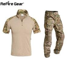Летняя Мультикам короткая военная форма Камуфляжный комплект Мужская армейская тактическая боевая рубашка+ брюки карго Пейнтбол страйкбол комплект одежды