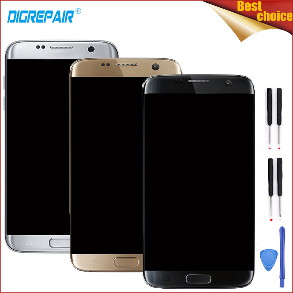 High Quality Black/Gold/Silver For Samsung Galaxy S7 Edge SM-G935F LCD Display Touch Screen Digitizer Assembly Parts+Frame+Tools