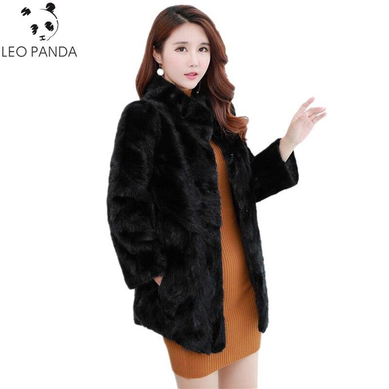 2019 Winter New Luxury Real Mink Fur Coats Women Thick Warm Natural Fur Jacket Outerwear Genuine Fur Black Coat Female