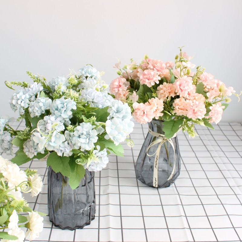 9 Heads MINI Hydrangea ball Artificial Flowers Ball Bunch Fake Silk Home Decor Faux Wedding Decoration Table