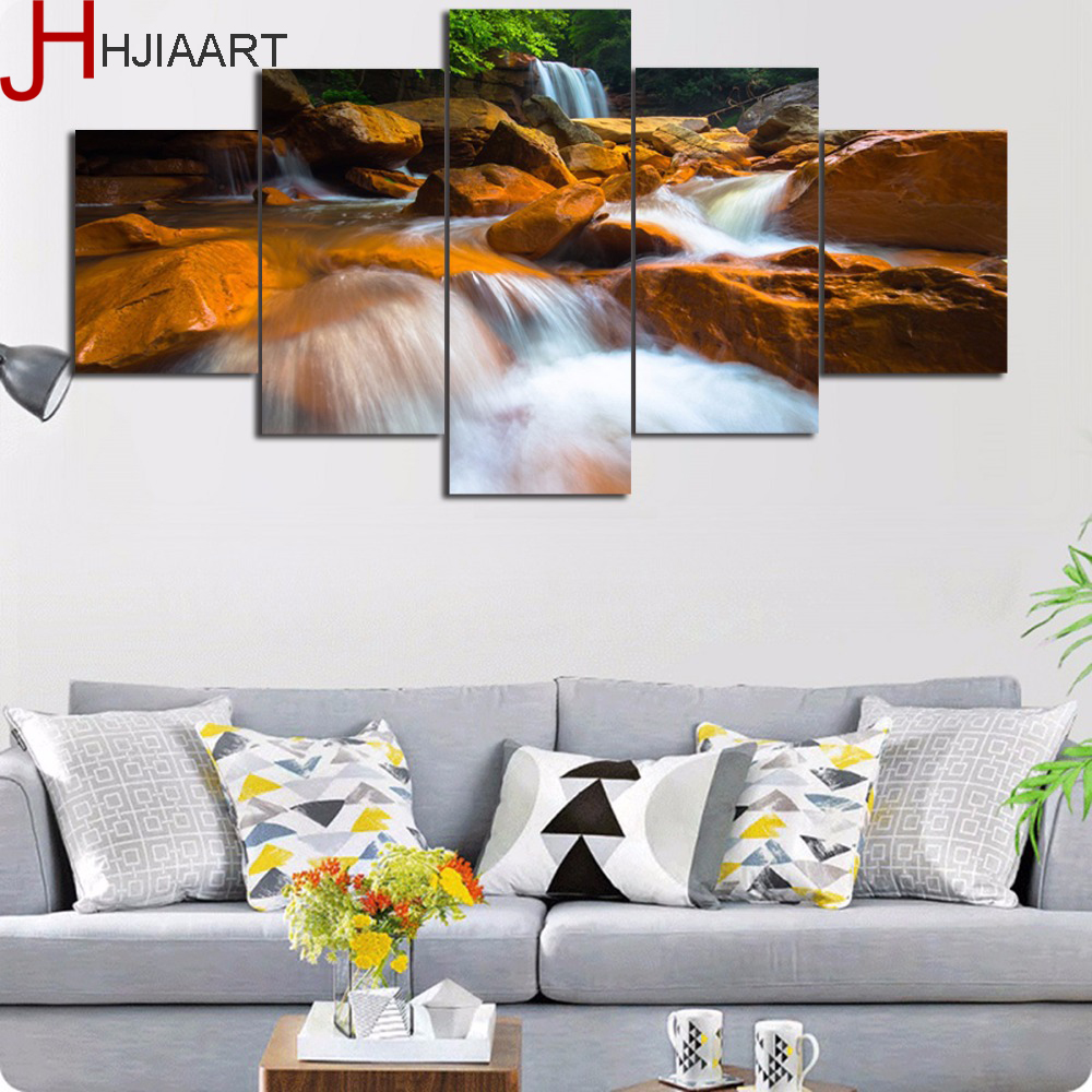HJIAART Framed Wall Art Yellow River Flow Scenery Picture Modern Home Decor Canvas HD Printed 5 Pieces Landscape Canvas Painting ...