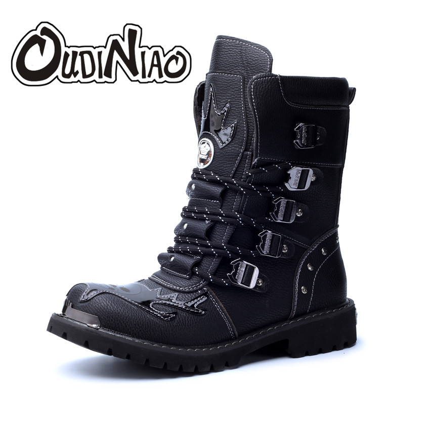 OUDINIAO Boots Men Military PU Combat Boots Metal Skull Male Motorcycle Punk Boots Men's Shoes Rock Mid Calf