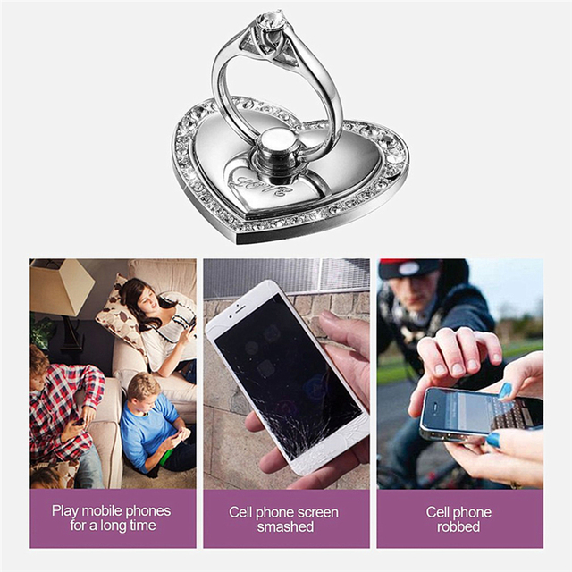 ALANGDUO Pop Mobile Phone Ring Holder Diamond Stand Metal Unique Love Romantic Design 360 Degree Universal for samsung S8 S9plus