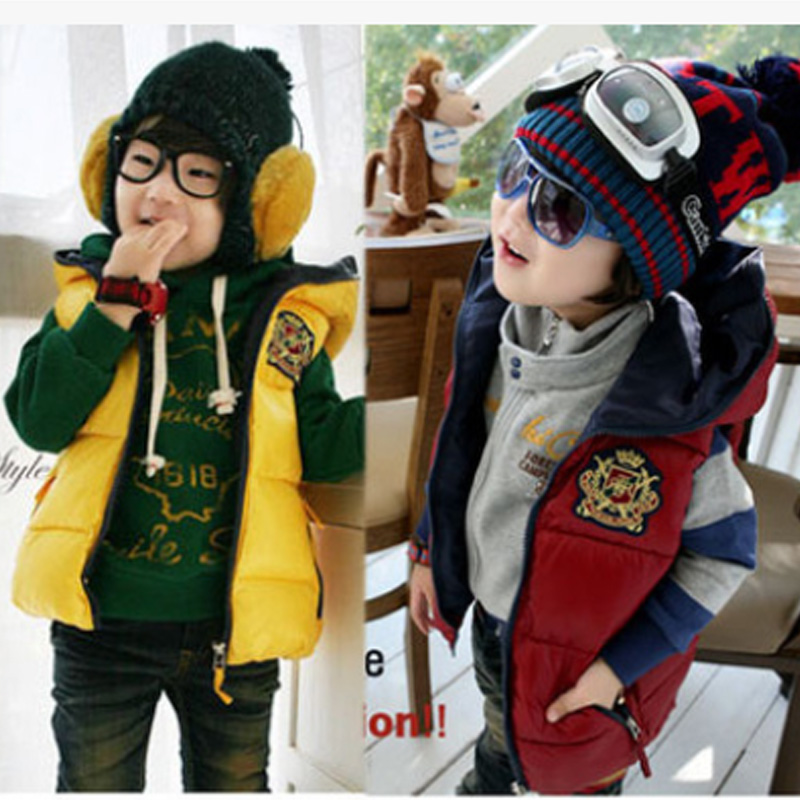 ФОТО Promotion New Autumn and winter badge Children Handsome hooded Vest,Autumn Gift For Kids baby Boys Fashion Vests Clothing