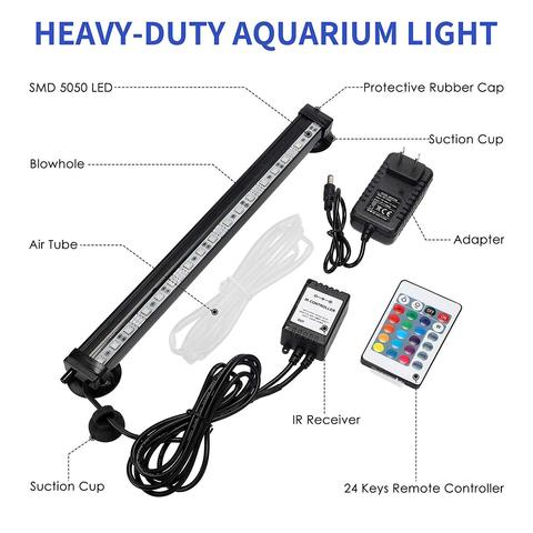 LED Aquarium Light IP68 Waterproof Fish Tank Lights Mutil-Color Air Bubble Dimmable Submersible Underwater Lights with Remote Karachi