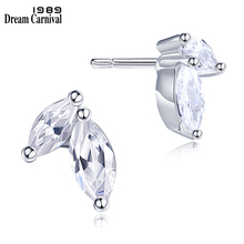 DreamCarnival 1989 2 Stones Leaf Look Crystals Stud Earrings for Women Office Jewelry Big Sale Gifts Brincos de Botao 37E1123