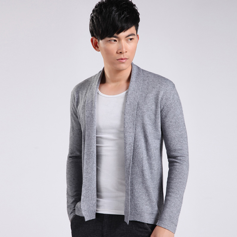 Spring Casual Men Wool Knitted Cardigan Long Sleeve Shawl Sweaters Autumn Wine Red Gray Blue Bodycon Pull Homme Cardigans
