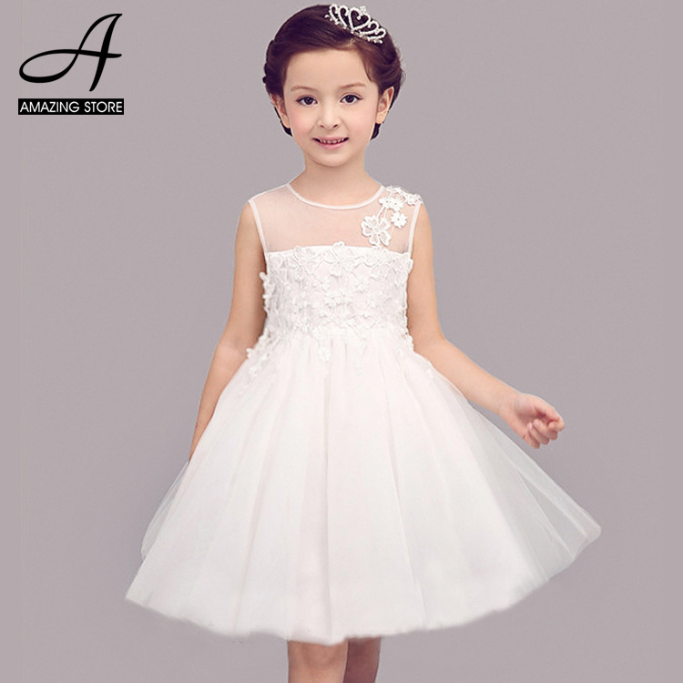 White wedding dresses for little girl adorable flower for Little flower girl wedding dresses