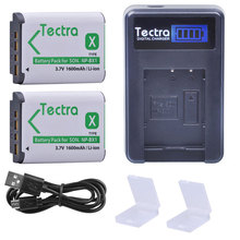 Tectra 1600mAh 2PCS NP-BX1 NPBX1 NP BX1 Battery+LCD USB Charger for Sony DSC-RX100 HDR-AS15 AS10 HX300 WX300 hdr-as300 Battery