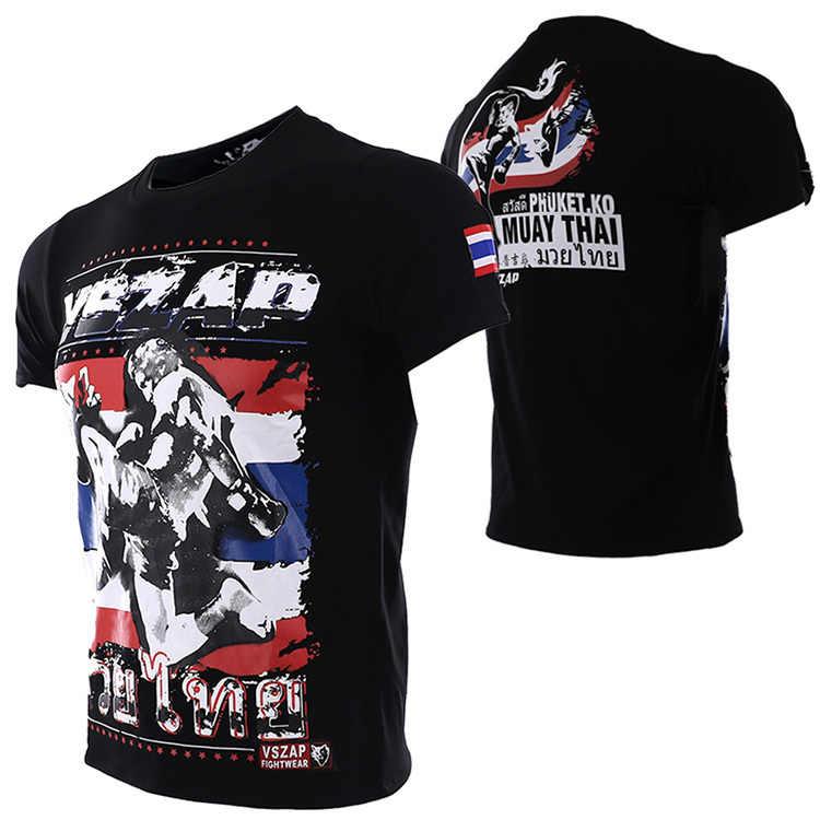 2018 Vszap MMA Gym Kickboxing Muay Thai Boxing Tinju T Shirt Pria Pelatihan Kapas Bernapas Nyaman MMA Celana Pendek Melawan Celana