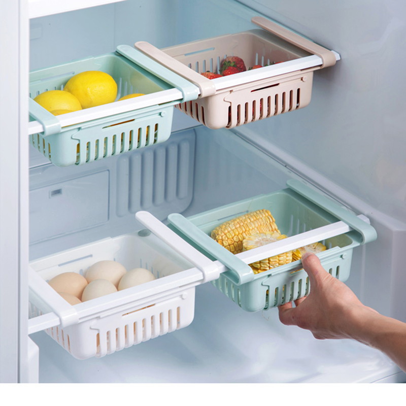 Kitchen Refrigerator Storage Box Fresh Spacer Layer Storage Rack Drawer Sort Kitchen Accessories Hanging Organizer Storage Rack