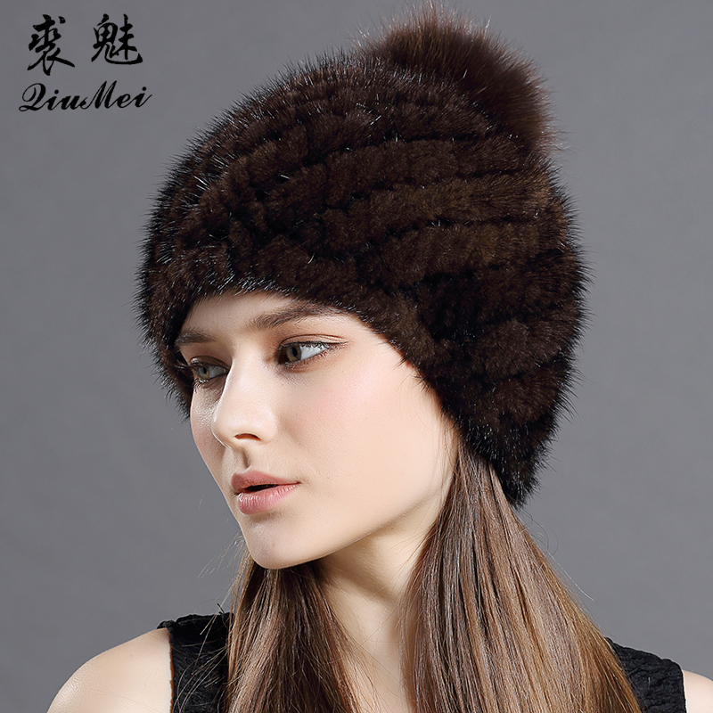 Real Mink Fur Hat For Women New Brand Thicken Female Fur Caps Ladies Winter Knitted Mink Fur Beanies With Fox Fur Pompoms Hat