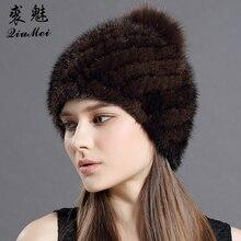 Real Mink หมวกขนสัตว์สำหรับผู้หญิงใหม่ยี่ห้อ Thicken หญิงขนสัตว์หมวกผู้หญิงฤดูหนาวถัก Mink Fur Beanies Fox pompoms หมวก