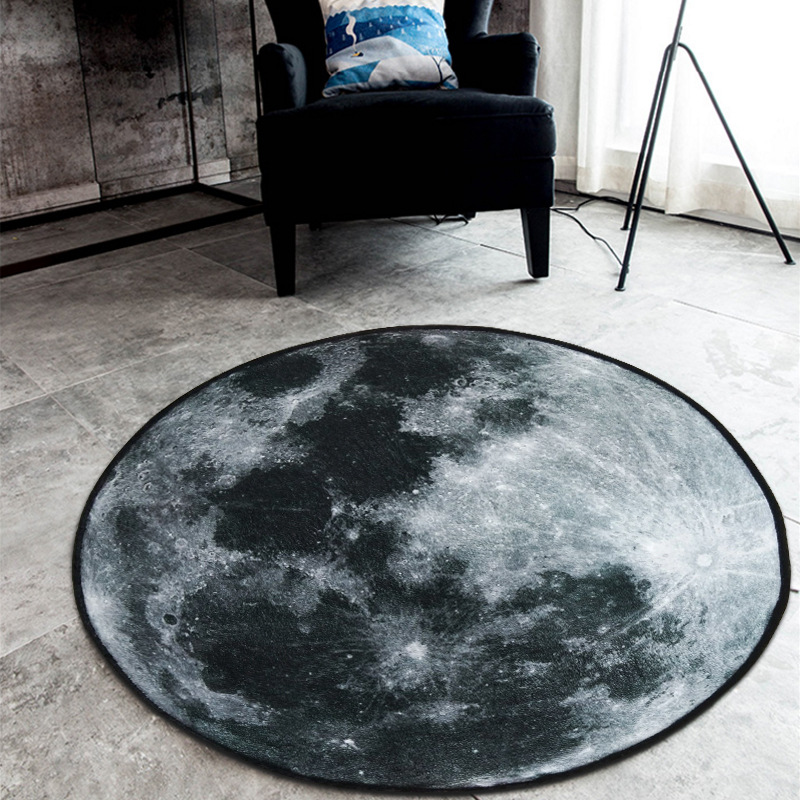 Nordic Trend Round Suede Carpet Living Room Bedroom Mat Planet Earth Moon Rug Bath Fashion 60/80/100/120/150cm