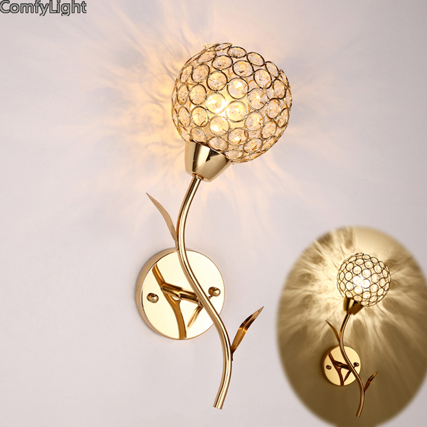 Crystal Wall Lamp American modern Loft Style Bedside Sconce Lamp LED lamp golden led glass wall light Bar Cafe Home Lighting modern glass led wall lamp bathroom light simple wall sconce for bar cafe indoor home lighting bedside lights luminaire
