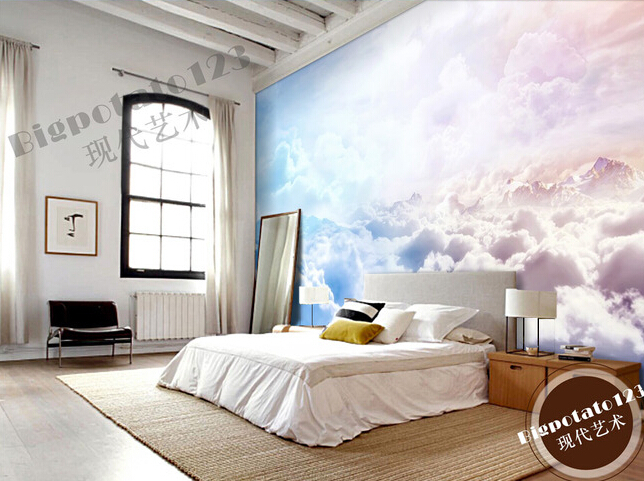 Custom natural wallpaper, sun sky clouds landscape murals for the ...