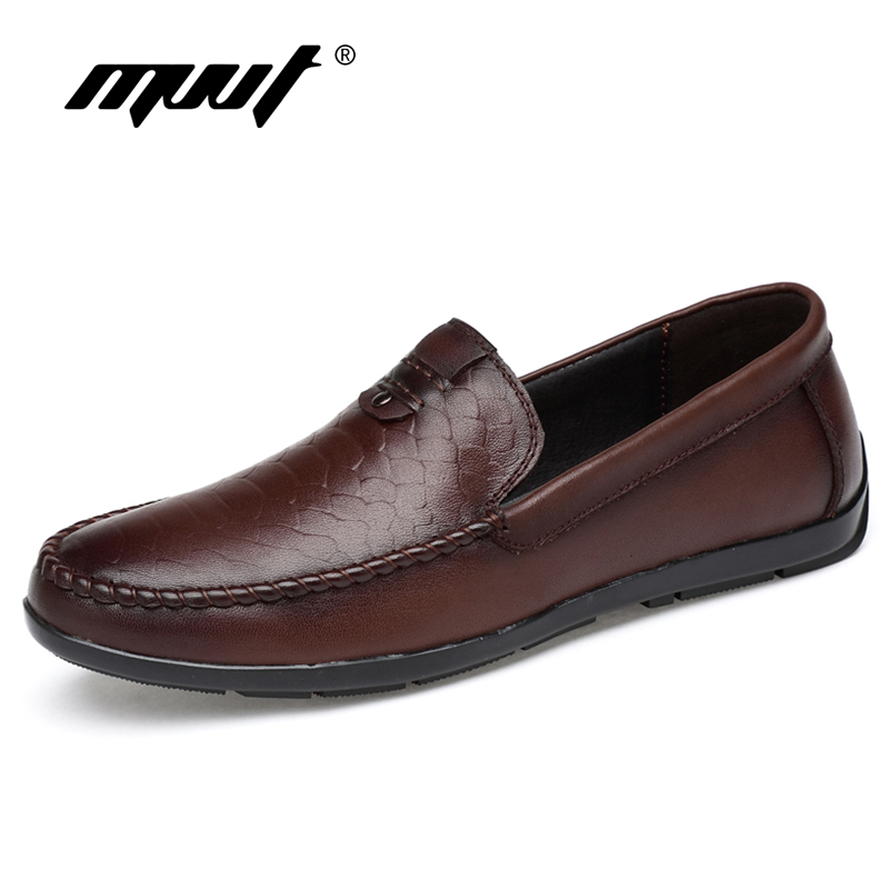 MVVT Genuine Leather Shoes Comfortable Slip On Men Loafers Soft Leather Casual Shoes Fashion Men Flats