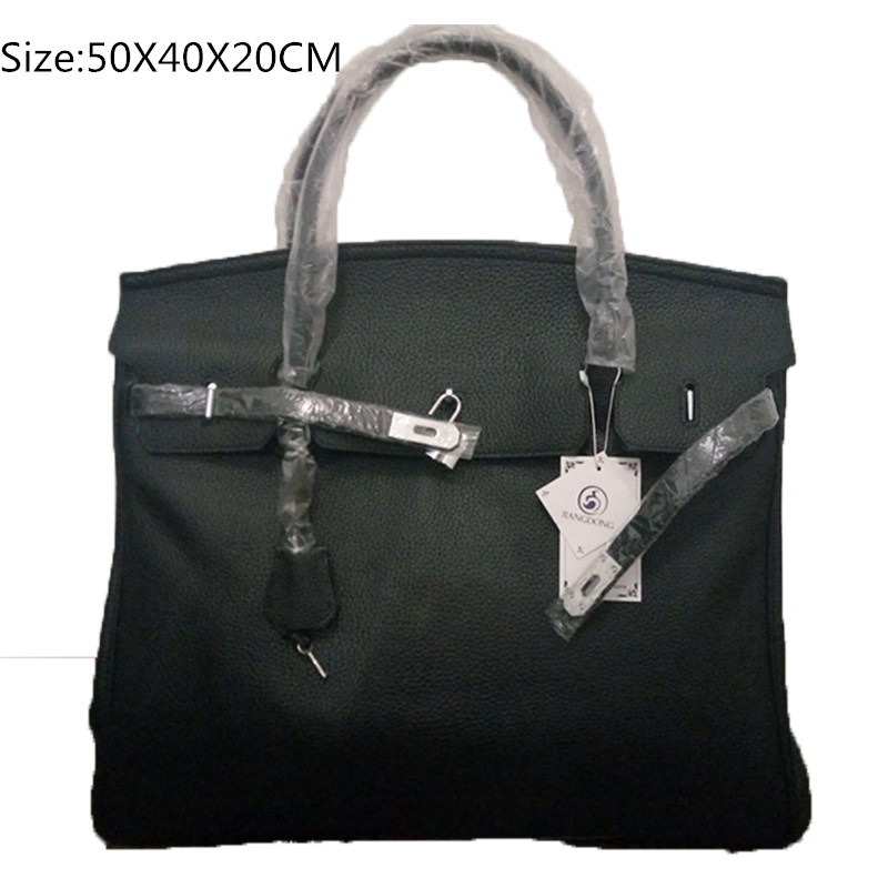 50cm Famous Brand Genuine Leather Tote Silver hardware Handbags Black Leather Bag for Women Travel bag diy fake designer handbag 2017 new arrival designer women leather handbags vintage saddle bag real genuine leather bag for women brand tote bag with rivet