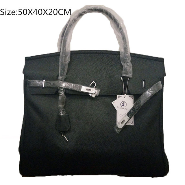 50cm Famous Brand Genuine Leather Tote Silver Hardware Handbags Black Bag For Women Travel