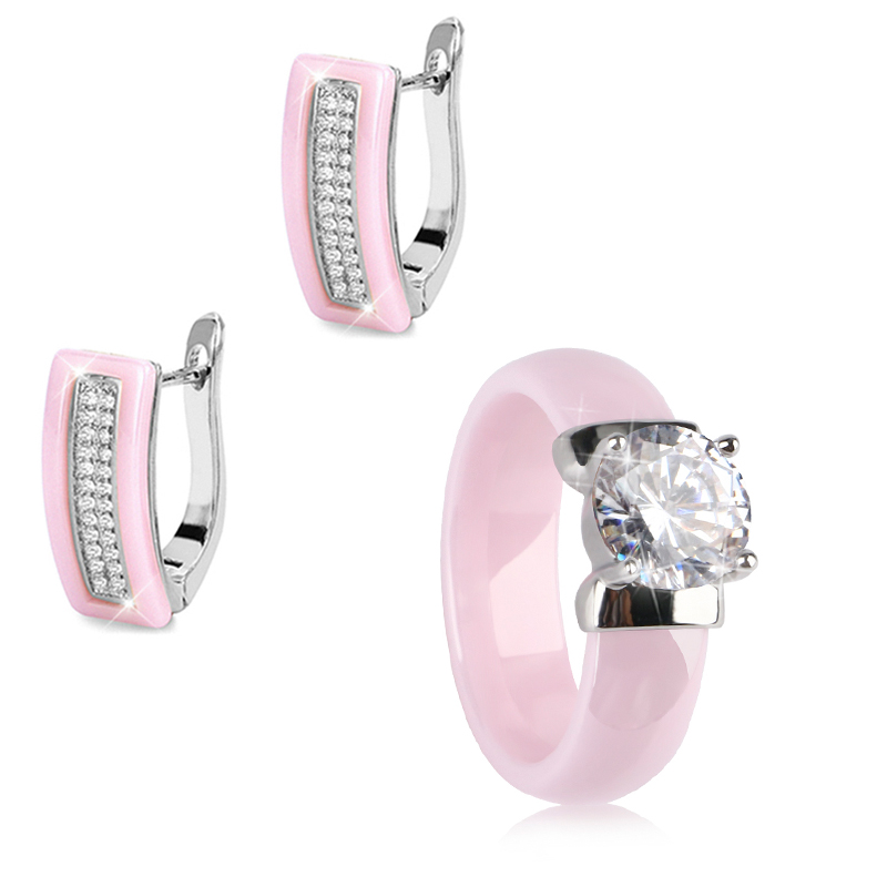3 PCS Luxury Romantic Wedding Bridal Jewelry Sets Brides Women Ring Earring Set Healthy Never Fade Color Ceramic Crystal Gift
