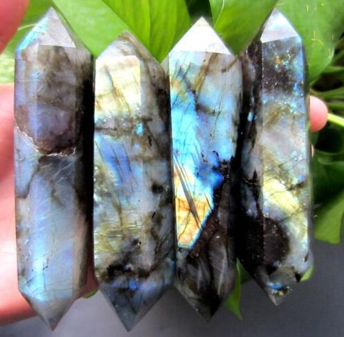 4pcs high quality 100% natural labradorite quartz crystal wand point healing as gift