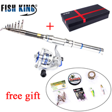 FISH KING 1.5m-2.4m Fishing Rod and 3BB 5.2:1 Fishing Reel Wheel Transportable Journey Telescopic Fishing Rod Combo Deal with